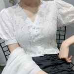 Puff Sleeve White Lace Shirt| Jihyo – Twice