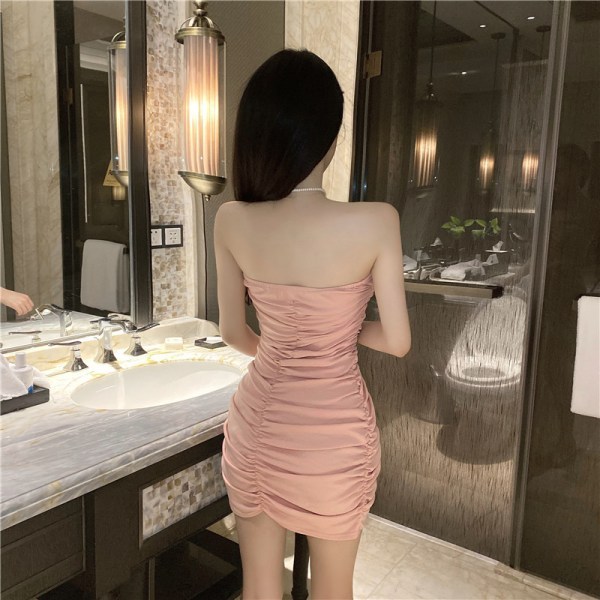 Pink Horizontal Pleated Bag Hip Dress | Lia – ITZY