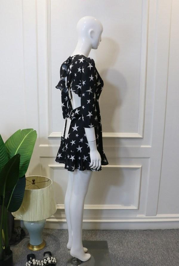 Open-Back Star Printed Dress | Lisa – BlackPink