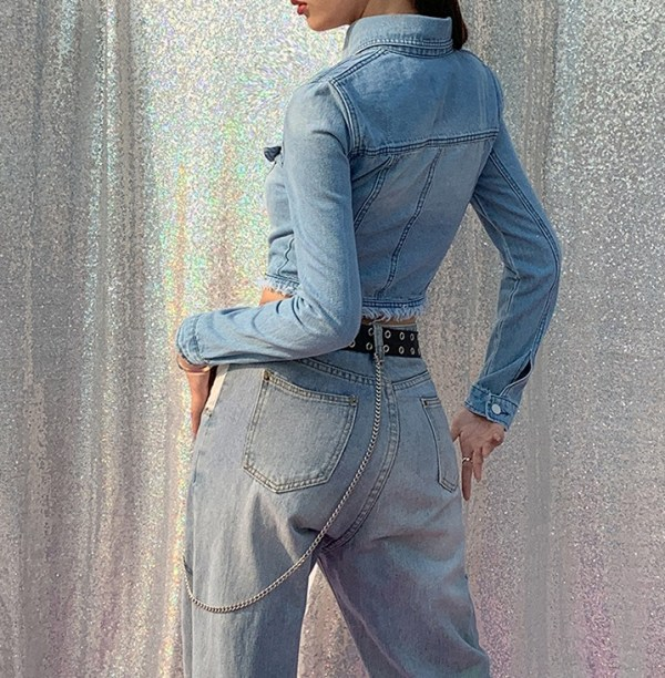 Front Cut-Out Crop Denim Jacket | Lisa – Blackpink
