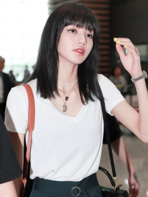 Plain White V-Neck Short Sleeve T-Shirt | Lisa – BlackPink