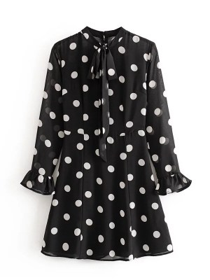 Rose – Blackpink Retro Polka Dot High Collared Dress (10)