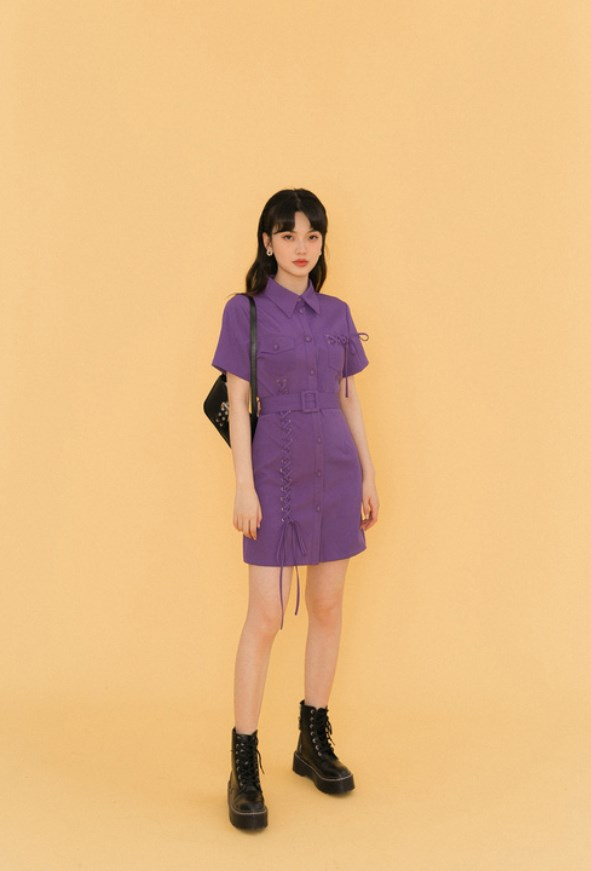 Lilac Eyelet Stitches Detail Dress | Shuhua – (G)I-DLE