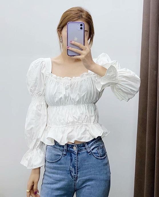 White Puffed Sleeve Top | Solar- Mamamoo
