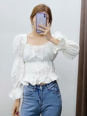 Solar- Mamamoo White Puffed Sleeve Top (34)