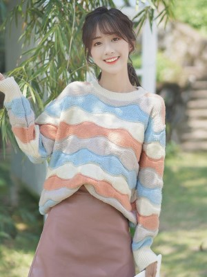 Wavy Multicolored Striped Sweater