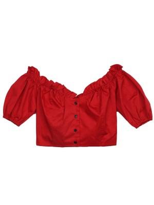 Wendy – Red Velvet Red Lotus Leaf Short-Sleeved Top (10)