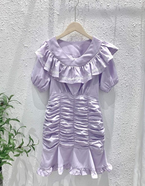 Lilac Ruffled Dress  | Yeri- Red Velvet