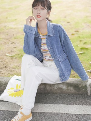 Blue Denim Casual Street Jacket (5)