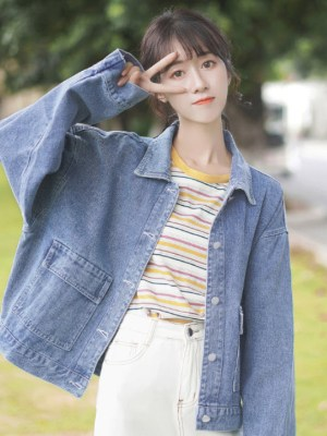 Blue Denim Casual Street Jacket