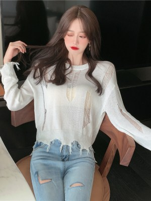 Chaeryeong – ITZY White Distressed Knit Top (12)