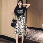 Daisy Pattern Black Skirt | Chaeyoung – Twice