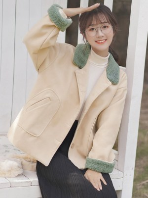 Green Collar And Cuffs Woolen Apricot Jacket (4)
