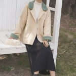 Green Collar And Cuffs Woolen Apricot Jacket