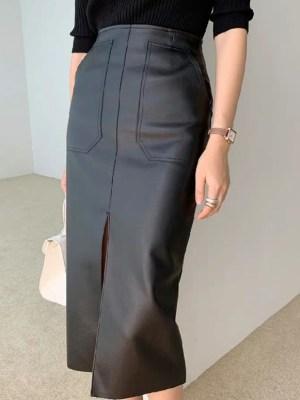 Hwasa – Mamamoo Black Leather Skirt With Front Slit (3)