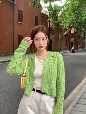 Hyuna Green Jacquard Mesh Knit Cardigan (11)