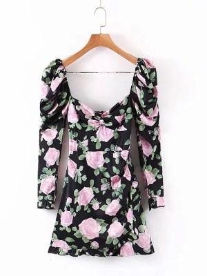 IU – Black Floral Mini Dress (9)