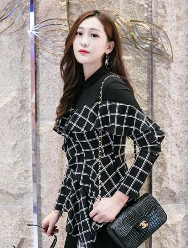 Black Plaid Mesh Irregular Cut Blouse | Jeongyeon – Twice
