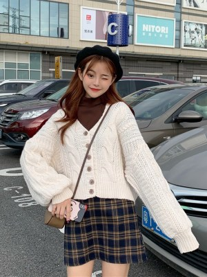 Jihyo -Twice White Knitted Twist Cardigan (20)