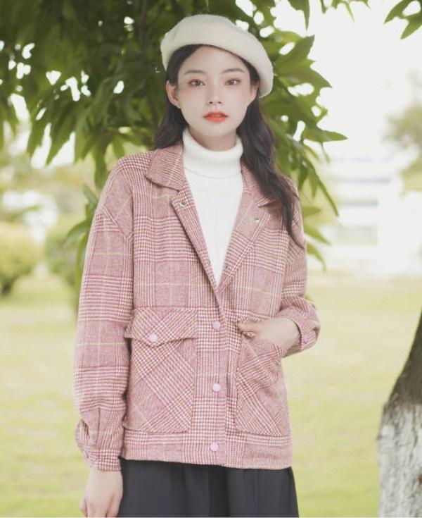Pink Plaid British Style Woolen Jacket