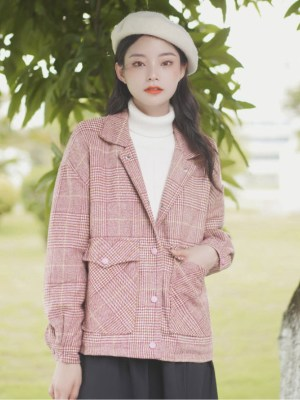 Pink Plaid British Style Woolen Jacket