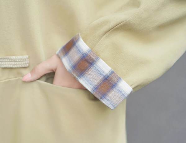 Plaid Cuffs Design Apricot Jacket