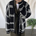 Loose Crossed Triple Lines Black Cardigan | B.I – iKON