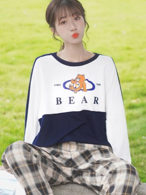 Bear Character Print Blue White Sweater (3)