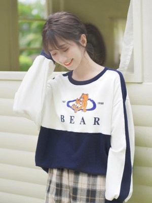 Bear Character Print Blue White Sweater