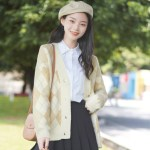 Beige Diamond Patterned Cardigan