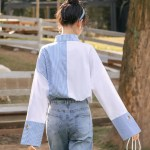 Blue Striped And Plain Sided Shirt With Holed Cuffs