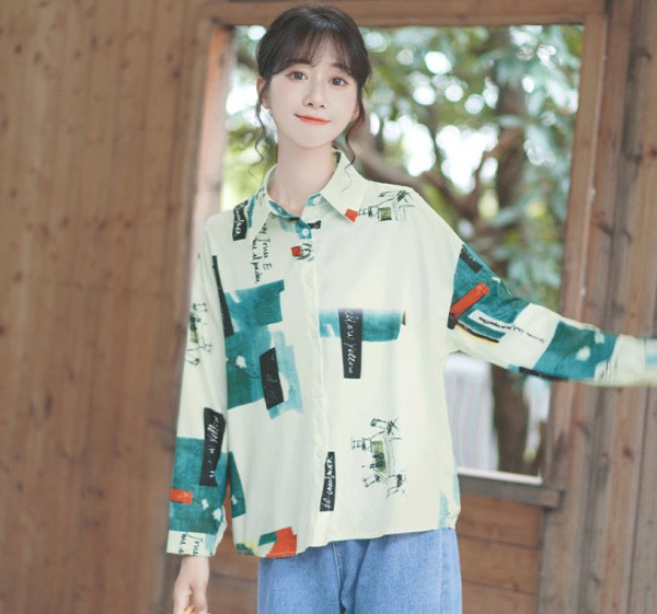 Blue Tone Scenic Printed Shirt