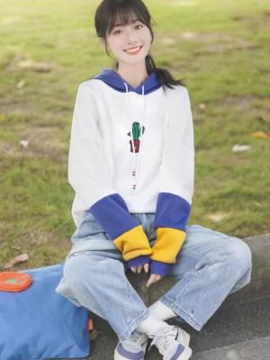Cute Multicolored Sleeves And Cactus Design Hoodie (2)