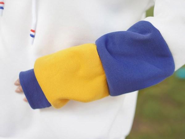 Cute Multicolored Sleeves And Cactus Design Hoodie