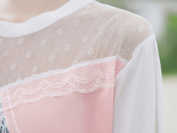 Floral Pink And Lace T-Shirt