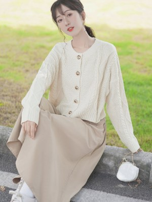 Golden Buttoned Retro Twist Knit Cardigan
