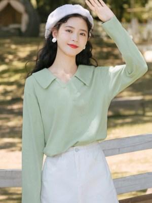 Green Asymmetric Cut Button Line Shirt (2)