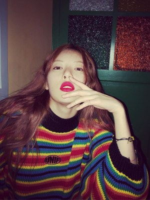 Knitted Rainbow Sweater | Hyuna