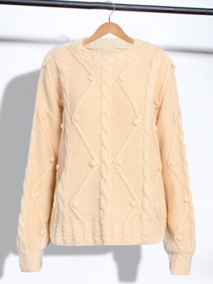 IU – Beige Round Neck Knitted Sweater (4)