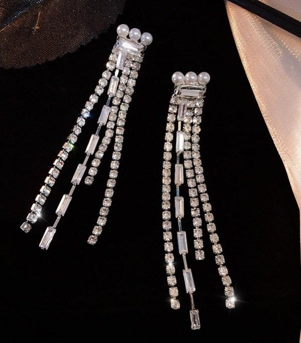 Pearl Rhinestone Tassel Earrings | IU – Hotel Del Luna