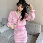 Pink and White Striped Two-Piece Suit | Jennie – BlackPink