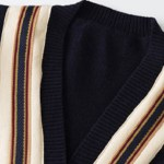 Striped V-Neck Navy Cardigan With Anchor Patch | Jay – iKON