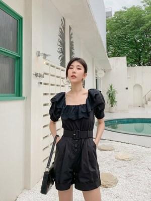 Jisoo Black Poplin Belted Jumpsuit (7)
