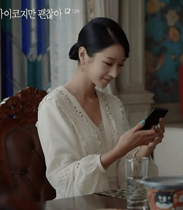 White V-Neck Lace Dress | Ko Moon‑Young – It's Okay Not To Be Okay