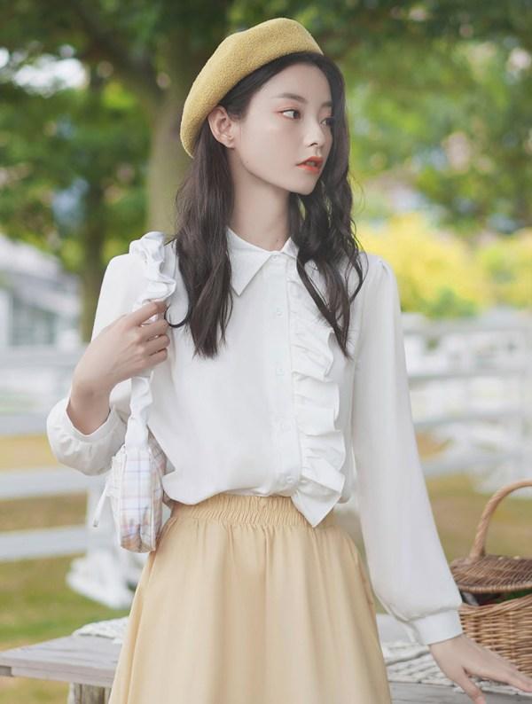 Left Side Ruffled White Shirt