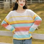 Multicolored Striped Apricot Sweater