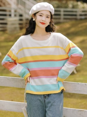 Multicolored Striped Apricot Sweater (4)