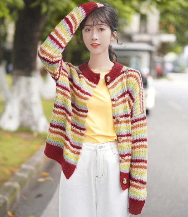 Multicolored Striped Reddish Cardigan