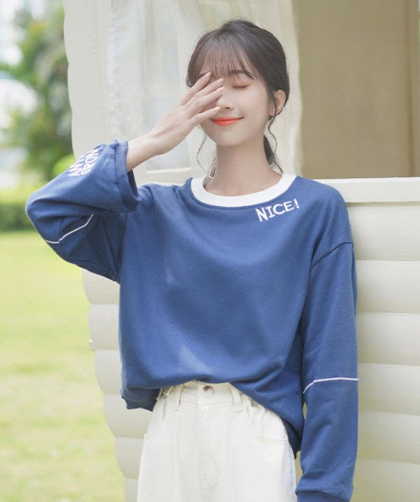 Nice Embroidered Blue Sweater