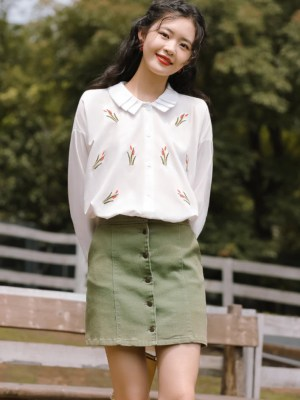 Pleated Collared Floral White Shirt (6)